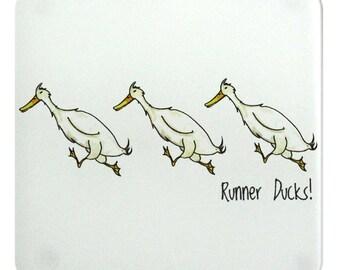 Duck Coaster, Glass Coaster, Duck Gift, Barnyard, Runner Ducks, Gift Under 5