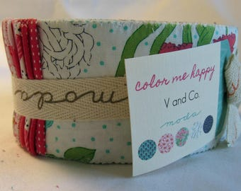 "Moda Color Me Happy Jelly Roll, 40 - 2.5"" Precut Fabric Quilt Strips"