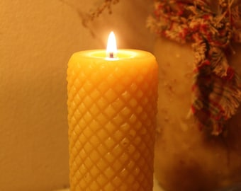 Diamond Cylinder Beeswax Candle - Beeswax Pillar Candle  Pure Beeswax from Beekeepers Hives