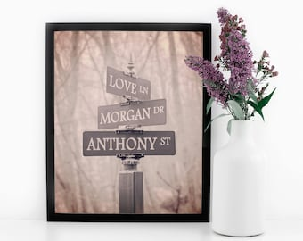Street Sign Print, Personalized Art, Romantic Gift, Gift for Her, Gift for Couple, Custom Gift, Personalized Wedding Print, Gift for Wife