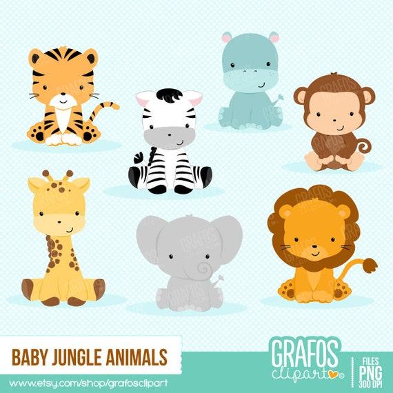 Nice BABY JUNGLE ANIMALS Digital Clipart Set Animals Clipart