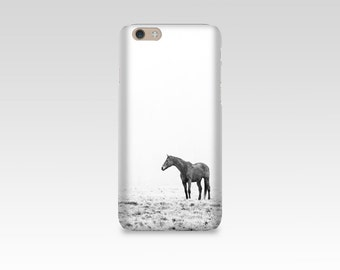 Black and White Horse Phone Case, iPhone 7 case, Samsung S7, iPhone 6, iPhone 5 case, Samsung S6, Equine Photography, Fog, Horse Picture