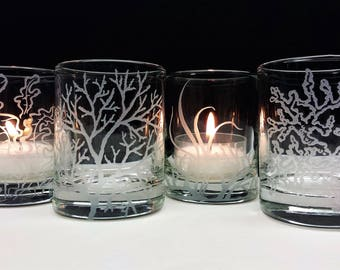 Coral and Sea Grass Votive Holders Set Of 4 Ocean Decor Candles Holders
