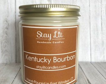 Kentucky Bourbon Soy Candle | 9oz | Scented Candle | Handmade | Hand-Poured | Hand Labeled | Gift Idea | Stay Lit Candles