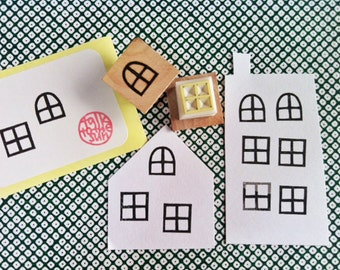 window rubber stamp set | fairy windows | diy birthday christmas card making | craft with children | hand carved by talktothesun | set of 2