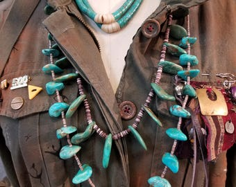 Turquoise Jacala earrings Converted To Choker
