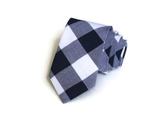 Navy Gingham Necktie~Anniversary Gift~Wedding Tie~Boys Necktie~Mens Necktie~Wedding~Mens Tie~Boys Tie~Mens Gift~Navy Tie~Navy Wedding