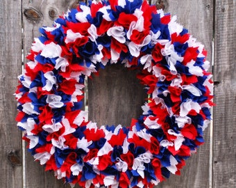 4th of July Wreath, Patriotic Wreath, Fourth of July Rag Wreath, Memorial Day Wreath, Flag Wreath, Rag Wreath, Military Wreath