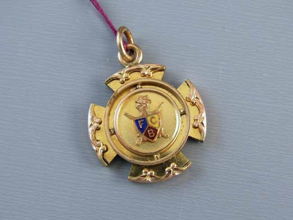 Antique Victorian Knights of Pythias watch fob FCB Pythagorean Brotherhood, secret society, Masonic, illuminati, fraternal, charm, pendant