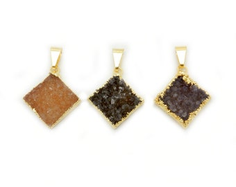 Diamond Shaped Druzy Pendant with Electroplated 24k Gold Edge (S88B1-01)