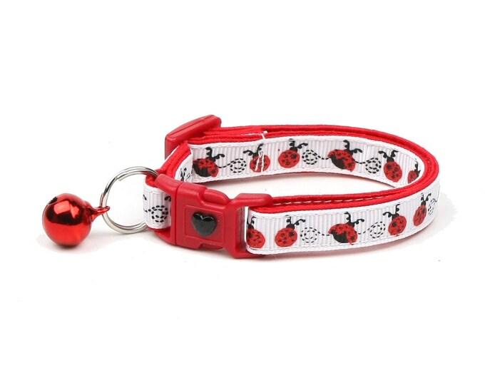 Ladybug Cat Collar - Ladybugs on White - Small Cat / Kitten Size or Large Size