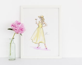 Yellowtini (Fashion Illustration Print)(Fashion Illustration Art - Fashion Sketch prints - Home Decor - Wall Decor )