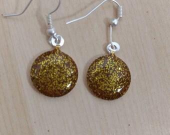 Gold Sparkle Resin Earrings