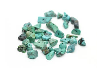 Genuine Turquoise Chips Nuggets Center Drilled 6-15mm 12pcs