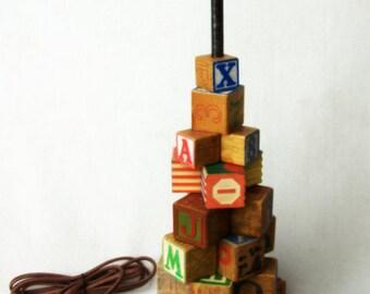 Vintage ABC Block Lamp