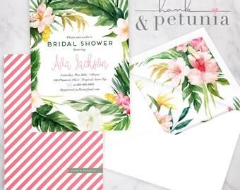 Watercolor Tropical Flower Bridal Shower Invitation, Tropical Bridal Shower Invite, Island Bridal Shower Invite, Envelope Liner