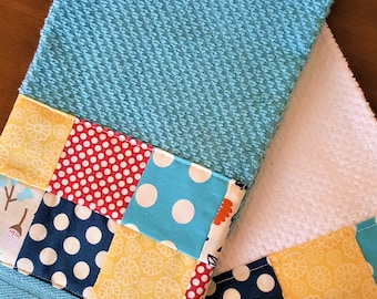 Kitchen Towel with Patchwork-Polka Dots and Flowers
