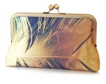 Gold feather clutch bag, feather purse, gold plumage, printed silk, gift box, FEATHER SHIMMER