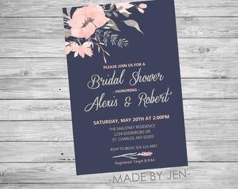 Bridal Shower Invitation, Navy Blue and Pink Floral Invitation, 5x7 or CUSTOM