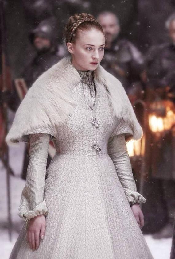 HABE Sansa Stark handgefertigte weiße Hochzeitskleid nach Maß