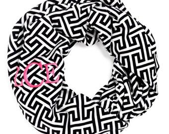 Monogram Greek Infinity Scarf, Monogram Greek Infinity Scarves, Personalized Scarves, Personalized Monogram Scarf, Greek Infinity Scarves
