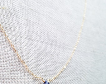 Genuine Blue Sapphire Necklace, Sapphire Necklace, Sapphire, Saphire, September Birthstone, Tiny Stone Necklace, Blue Necklace, Gemstone BN9