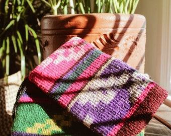 Bolivian Vintage Handwoven Native Aguayo Printed Purple Pink Wallet Bag