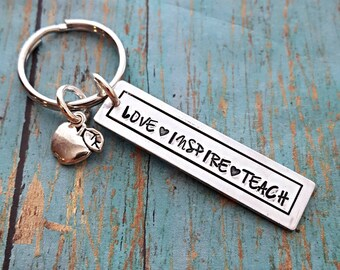 Love Inspire Teach Teacher Keychain - Teacher Gift - Teacher Appreciation - Gift for a Teacher - Apple Charm - Appreciation Gift - Teacher