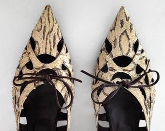 Exclusive Gianni BARBATO pumps size 39 EU, 8 us, 6 UK made of snakeskin, beige snake leather