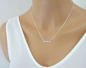 Hammered bar necklace, Dainty skinny bar pendant, Delicate necklace Gift for her