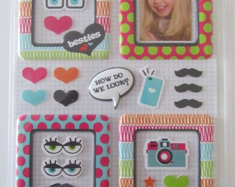 set of 4 frames in 3 D stickers - put your favorite photos on stage