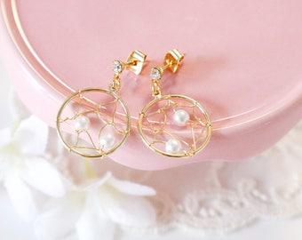 Dream catcher earrings, dream catcher, round earrings