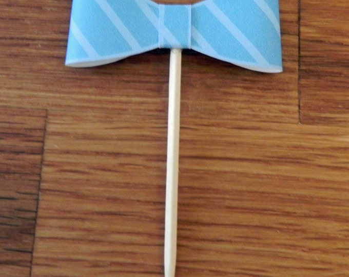 Party Pick: Little Man Bow Ties Baby Shower or Birthday Party die cut bow ties blue stripe pick mini cupcake topper