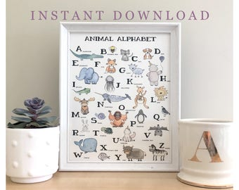 Animal Alphabet // nursery print, baby print, wall print, printable, digital download, instant print, alphabet print, animal print, alphabet