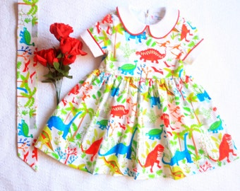 Dinosaur dress Girl Baby Toddler Dress size 3 months to 6 years