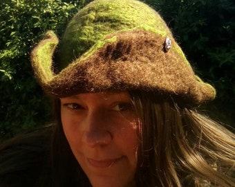 Felted tricorne hat