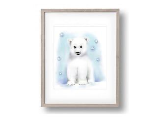 Polar Bear Nursery,  Boy Nursery Art, Blue Nursery Art, Stars, Animal Print  Childrens Art, Wall Decor, Painting, Print