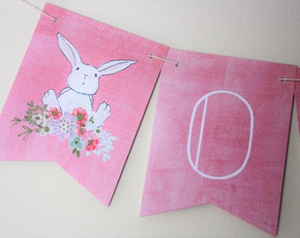 Bunny Banner. Floral Banner. Bunny Theme. Woodland Theme. Baby Shower. New Baby. Birthday Party. First Birthday. Highchair Banner. Flowers.