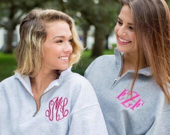 Monogrammed Quarter Zip Sweatshirt, Personalized Pullover, Bridal Party Sweatshirt, Monogrammed Half Zip