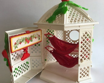 Vintage 1980's Strawberry Shortcake Garden House Gazebo with Some Accessories