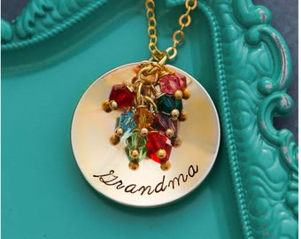 Personalized Grandma Gift • Grandmother Necklace Gold Grandma Necklace • Gold Birthstone Jewelry Grandkids Gift • Large Family