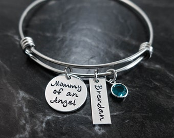 Mommy of an Angel / Memorial Jewelry / Wire Bangle / Adjustable Bangle / Charm Bracelet / Miscarriage Jewelry /Hand Stamped / Personalized