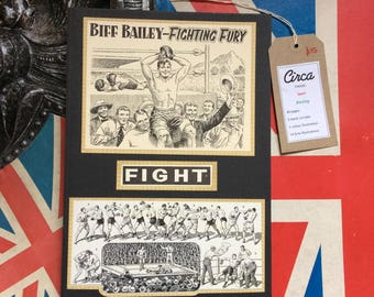 Handmade boxing themed vintage journal/notebook/ diary