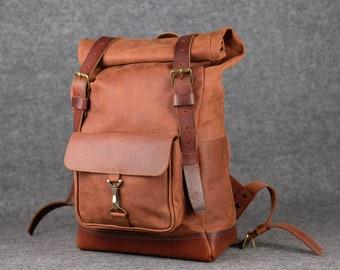 Men's leather backpack / Travel backpack, Large backpack, Travel rucksack, Leather travel backpack, Men's backpack, Huge backpack, Roll top