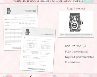Client Questionnaire & Client Information Forms for Photographers, Photoshop Templates, INSTANT DOWNLOAD