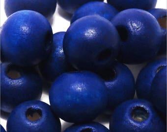 Set of 40 round wood beads 10mm blue Ultramarine