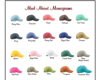 Monogrammed Baseball Cap for Ladies - Personalized with Monogram - Choose from 20 Colors