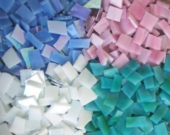 """Mosaic Tiles 400 1/2"""" blue pink white Aqua Stained Glass Mosaic Tile"""