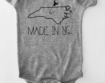 Made in NC, North Carolina Baby one-piece -6 month romper, Grey with Black print, screen printed