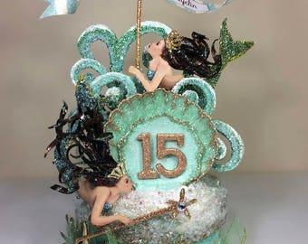 Mermaid Birthday Cake Topper, Quinceanera Cake Topper, Keepsake Box, Art piece
